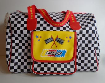 Rare Claires Club Checkered Race Car Tote Bag Colorful Nascar Style Overnight Zipper Pocket Pop Art Aesthetic Kawaii Cute Tween Unisex