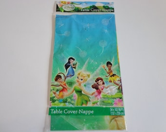 Disney Tinkerbell & Fairies Table Cover by Hallmark New in Package Retro Cartoon Collectible Birthday Party Decoration Supplies for Events