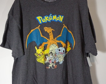 Official Distressed Pokemon Character Logo Tee Shirt Adult Sizes New Collectible Anime Cartoon T-Shirt