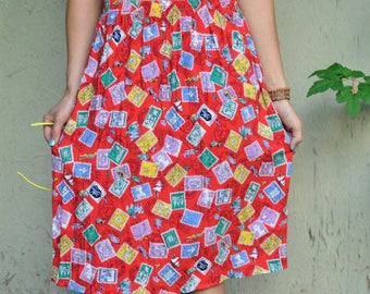 True Vintage 80s Colorful Postage Stamp Print Skirt with Elastic Waist, Medium