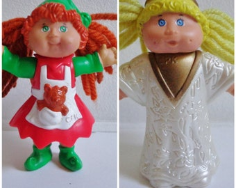 90s Cabbage Patch Kid Redhead or Blonde Girl Mini Toy Figure Doll Cake Topper Decoration, Retro 80s CPK Christmas or Holiday Theme Collector