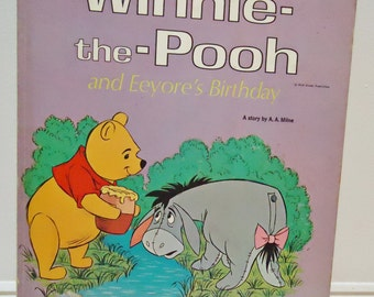 Walt Disney Winnie the Pooh and Eeyore's Birthday 1978 Vintage Illustrated Childrens Book, Golden Book, Oversized, Full Color, A.A. Milne