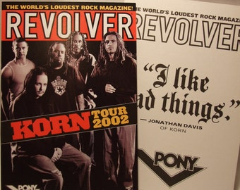 Korn Revolver Magazine Cover Pic Tour 2002 Sticker Card Jonathan Davis Decal Postcard 90s Rock