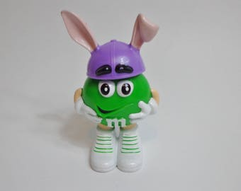 Official M&M's Green M Easter Bunny Candy Holder Toy Cake Topper Decoration Collectible Mini Figure