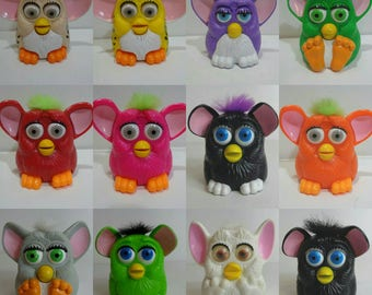 Collectible 90s McDonalds Furby Toy Happy Meal Collection Cake Topper, Nineties Kids Meal Fast Food Furbies Owls