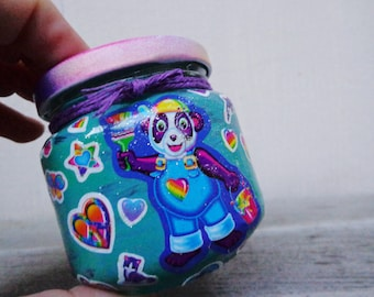Kawaii Cute Animals Lisa Frank Rainbow Stickers Stash Jar One of a Kind Handpainted Upcycled Glass Nug Jug