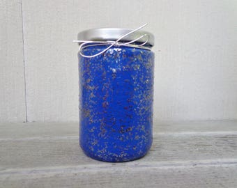 Blue and Silver Glittery Sparkle Stash Jar One of a Kind Handpainted Upcycled Glass Nug Jug by thriftalina