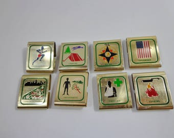 Lot of Vintage Boy Scouts Metal Activity Sash Clips 1970s 80s Collectible Acheivement Event Memorabilia Souvenirs Retro Accessories Sports