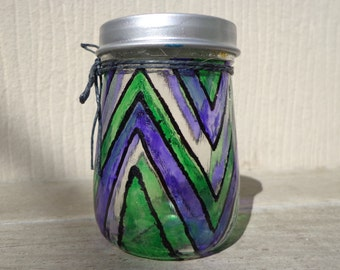 Green & Purple Stripe Stash Jar One of a Kind Handpainted Glass Nug Jug