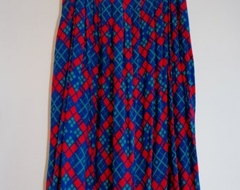 True Vintage 80s Plaid Print Soft Rayon Swing Skirt w Pockets by Bremelli Size Large