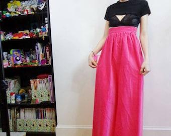 Handmade Vintage Hot Pink Corduroy Maxi Skirt, Unique Retro Fashion, Petite Long Tall