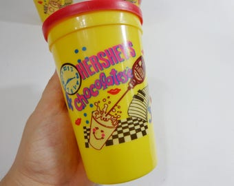 1992 Vintage Hersheys Chocolatese Now it's Time Collectible Plastic Cups with Lids New Stock retro Nineties Kitchen Gifts Choose One or All