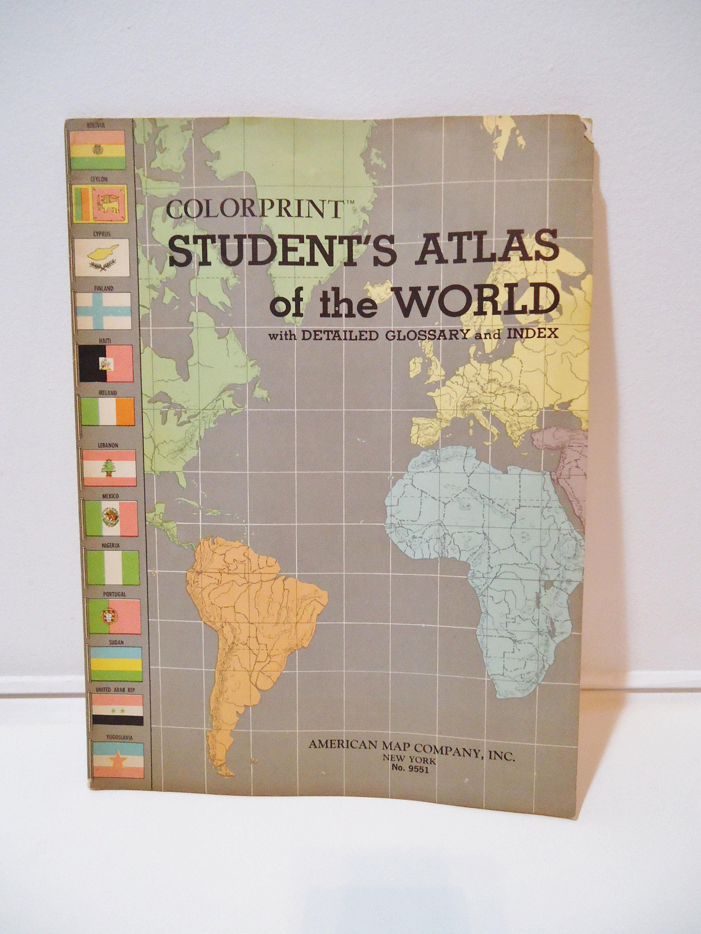 Vintage colorprint student school atlas of the world map book retro vintage colorprint student school atlas of the world map book retro geography ephemera booklet gumiabroncs Gallery