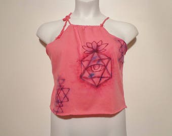 Pink Sacred Geometry Design Handpainted Crop Top Tank Boho Festival Fashion, Summer Style, Medium Large