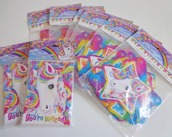 Collectible Official Lisa Frank Rainbow Unicorn Party Supplies New in Package Happy Birthday Banner Destash Lot Sale Collector