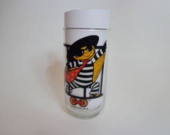 1977 McDonaldland Action Series Hamburglar Collectible McDonalds Glass, Cartoon Character Glassware Collection Retro 70s Kitsch Gifts