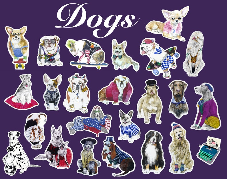 pitbull corgi borzoi retriever sheepadoodle Bulldogs 24 pieces for laptops etc Dogs sticker set smartphones bullterier notebooks