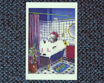 Sheepadoodle taking bath card
