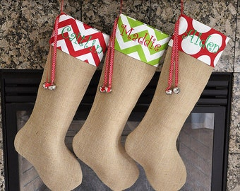 Personalized Burlap Stocking Burlap Christmas Stocking Choose your Cuff Fabrics