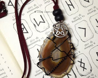 Dusk // Red & Brown Agate slice with pentacle charm necklace
