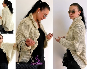 Knitting Pattern - LEAVES Cocoon Cardigan - No.114E
