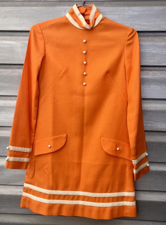 Handmade Vintage Orange GoGo Mod Long Sleeve Mini