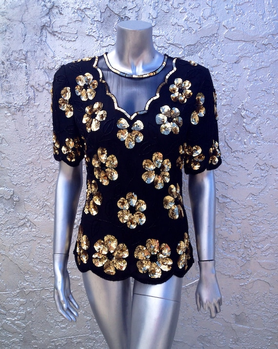 STENAY Vintage Floral Gold Sequin Silk Top