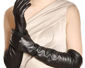 Women's elegant and classic long leather gloves-warm and super soft 100% silk lining-black leather gloves-red-women gift.glamour style opera