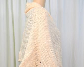 47fa69a6a7ba Vintage 1950s 1960s blush pink acrylic and white rayon yarn rectangle wrap  shawl scarf