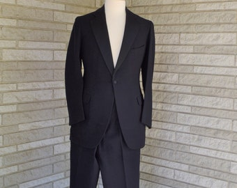 Vintage 1940s 1950s hand tailored 3 piece black wool tuxedo - jacket, trousers, and vest