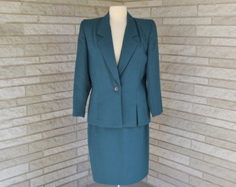 Vintage 1990s teal suit by Dallas Petites with straight skirt and button front jacket size 10
