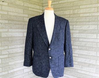 b410582aeca0 Vintage 1990s navy blue tweed jacket sport coat custom crafted in Hong Kong  by Miller's