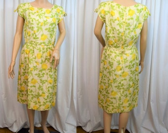 91daf816514d Vintage 1960s yellow rose flower silk cap sleeve straight skirt wiggle  dress by McMullen Glens Falls NY