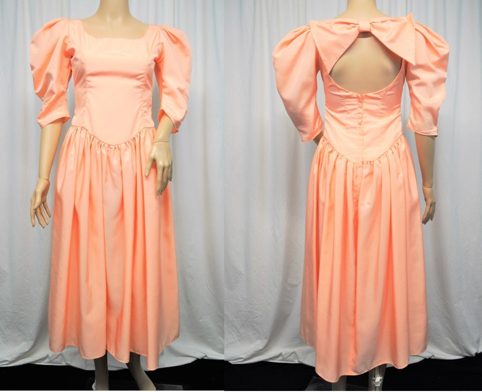 80s Dresses | Casual to Party Dresses Vintage 1980S 1990S Dance Allure By Alfred Angelo Peach Taffeta Mid Calf Cocktail Or Prom Dress With Bow Back Accent $0.00 AT vintagedancer.com
