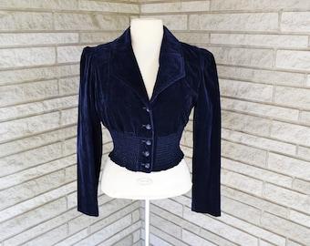 Vintage 1970s navy blue cotton velvet velveteen waist length button front jacket