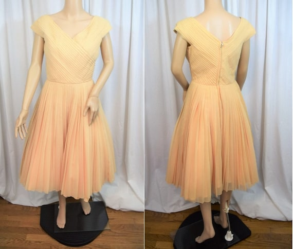 Vintage 1950s Rappi crystal pleat surplice bodice