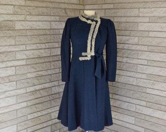 Vintage 1930s 1940s knee length navy blue wool asymmetrical close coat with grey Persian lamb trim
