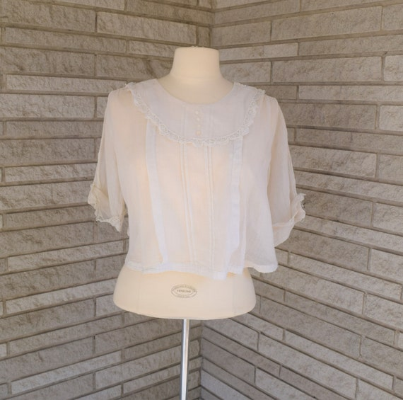 Vintage 1900s 1910s Edwardian short sleeve white s