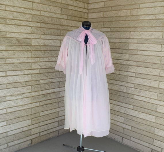 Vintage 1960s 1970s sheer nylon tie front waltz length peignoir style robe with small purple flower embroidery