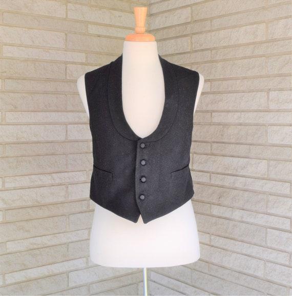 Vintage 1940s 1950s black tuxedo vest waistcoat
