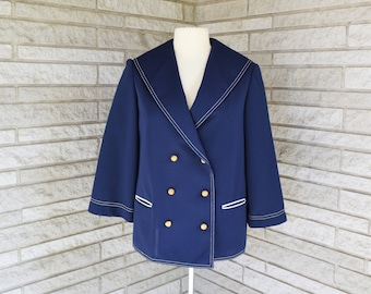 Vintage 1970s navy blue double knit double breasted sailor style jacket by Joyce