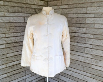 Vintage 1950s 1960s off white chrysanthemum brocade quilted jacket with frog front close, stand up collar by Fortune Fabulous Fashions