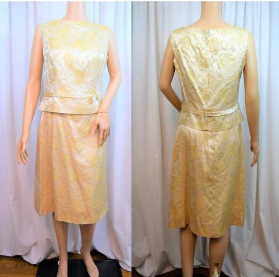 Vintage 1950s Minx Modes gold rose metallic brocad