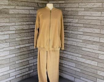 Vintage 1980s 1990s gold metallic knit track suit, pant suit by Bob Mackie XL