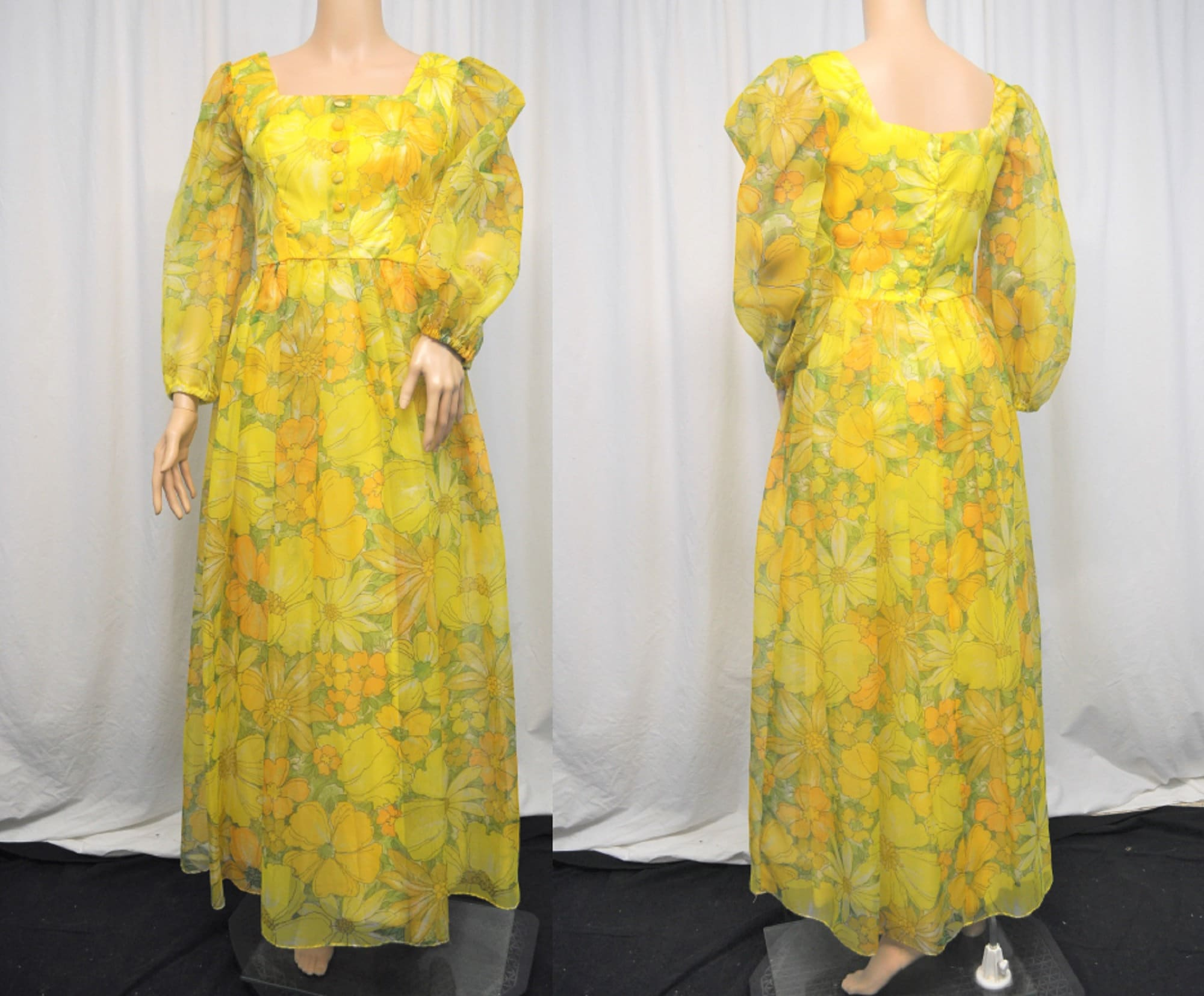 Vintage Scarf Styles -1920s to 1960s Vintage 1960S 1970S Yellow Floral Print Chiffon Over Taffeta Long Sleeve Floor Length Maxi Evening Gown With Self Sash Belt $0.00 AT vintagedancer.com
