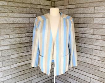 Vintage 1980s blue, tan & taupe stripe linen blend open front jacket by Pykettes size 38