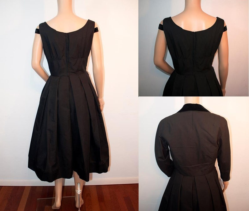 683f31f8ad4 Vintage 1950s Abe Schrader tuxedo jacket bolero black cotton