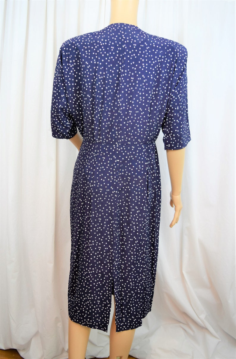 Vintage 1980s Positive Influence navy blue with white geometric dots and trim button front elbow length sleeves