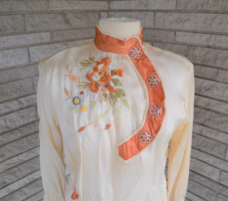 Vintage 1960s 1970s rayon Asian motif tunic