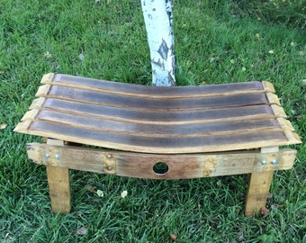 Bench made from repurposed wine barrel staves- Free shipping